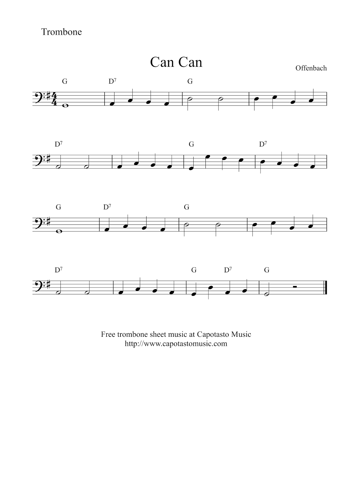 Agile image for free printable trombone sheet music