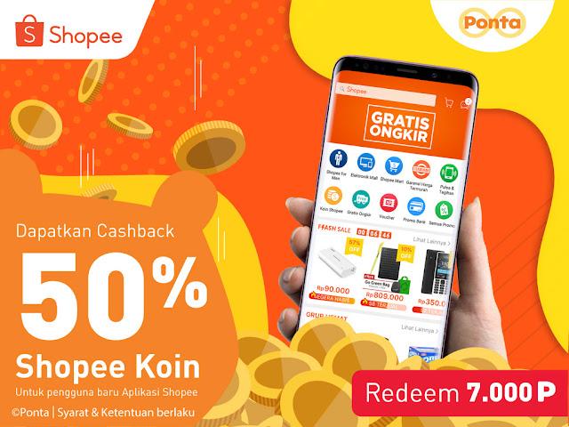 #Ponta - #Promo EVoucher Cashback 50% Shopee Dengan Redem 7000 Poin (s.d 15 April 2019)