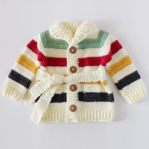 Crochet Hudson's Bay Baby Sweater - Free Pattern