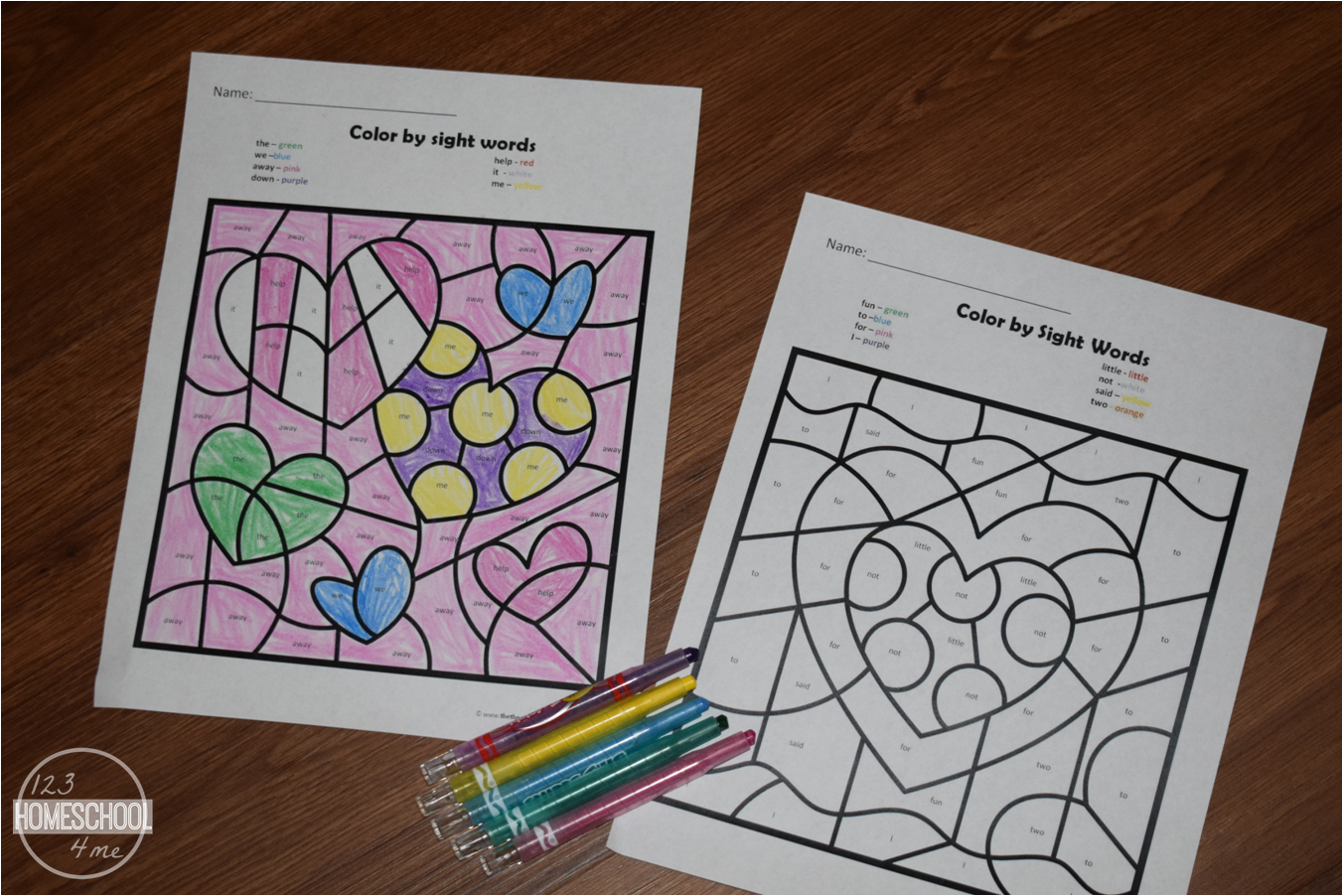 Free Valentine S Day Color By Sight Word Worksheets - Download Color By Sight Word Worksheets For Kindergarten Pictures