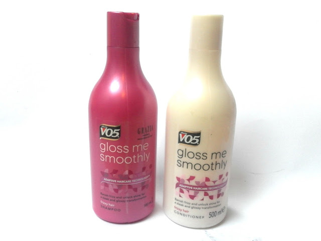 A picture of VO5 Gloss Me Smoothly Shampoo and Conditioner