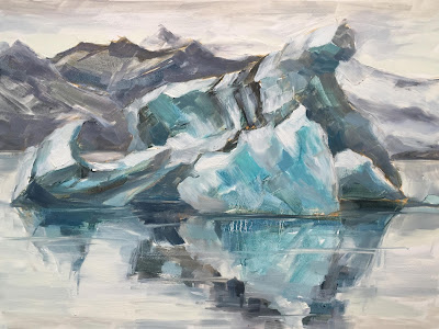 #117 'Icebergs Jokulsarlon, Iceland 2' 9×12″