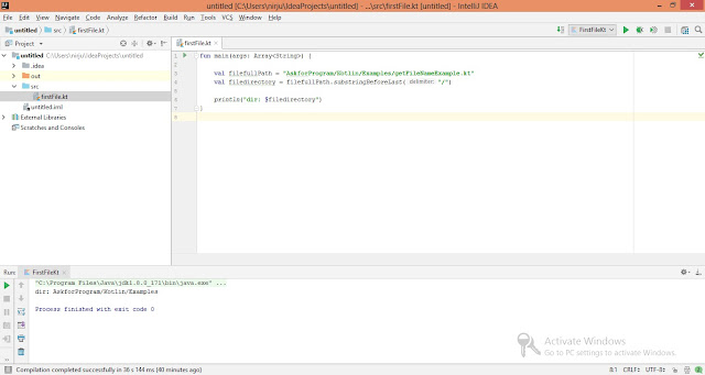 Kotlin program to find application directory path using substringBeforeLast() - Output