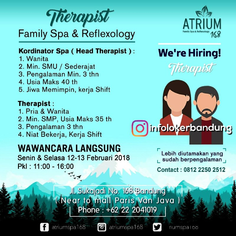 Walk In Interview Atrium 168 Family Spa & Reflexology Bandung Februari 2018