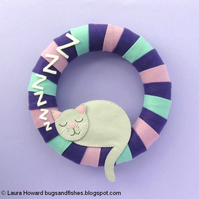 finished sleeping cat wreath