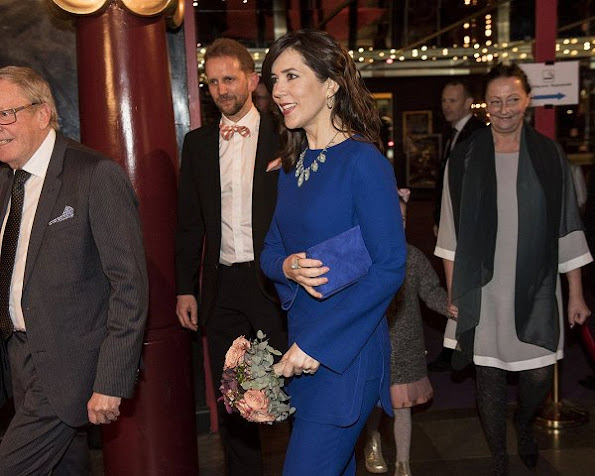 Crown Princess Mary wore Gucci Electric Blue Pantsuit, Gianvito Rossi Gianvito Pumps