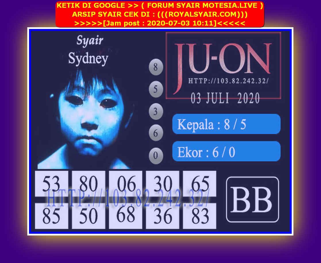Kode syair Sydney Jumat 3 Juli 2020 178