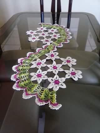 Harmonia Em Crochê Trilho Para Mesa Modelo Espiral Com