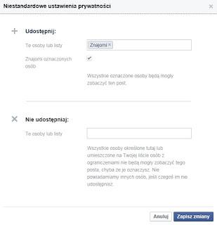 Ustawienia prywatności publikowanego postu na Facebooku