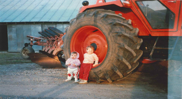 Kayla and her brother on their family farm