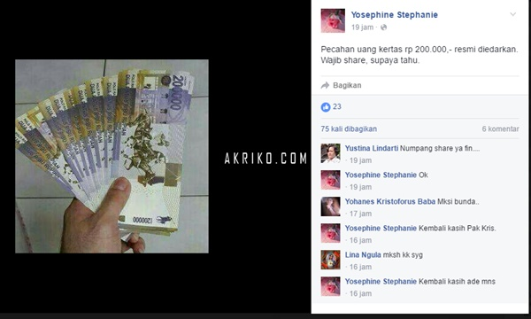 Pecahan Uang Rp 200.000 itu adalah Hoax