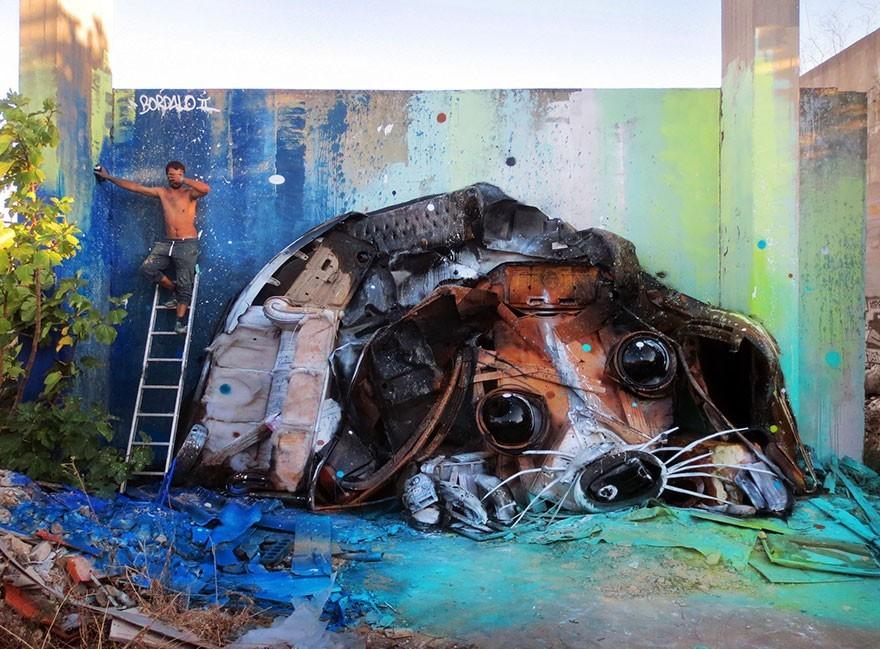 Anjing - Seni Lukisan Binatang Menakjubkan Dan Kreatif Dari Bahan Sampah