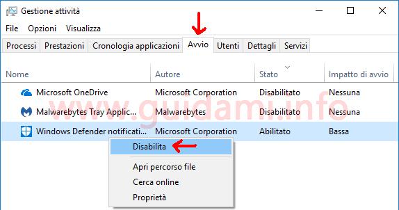 Gestione attività scheda Avvio Windows 10