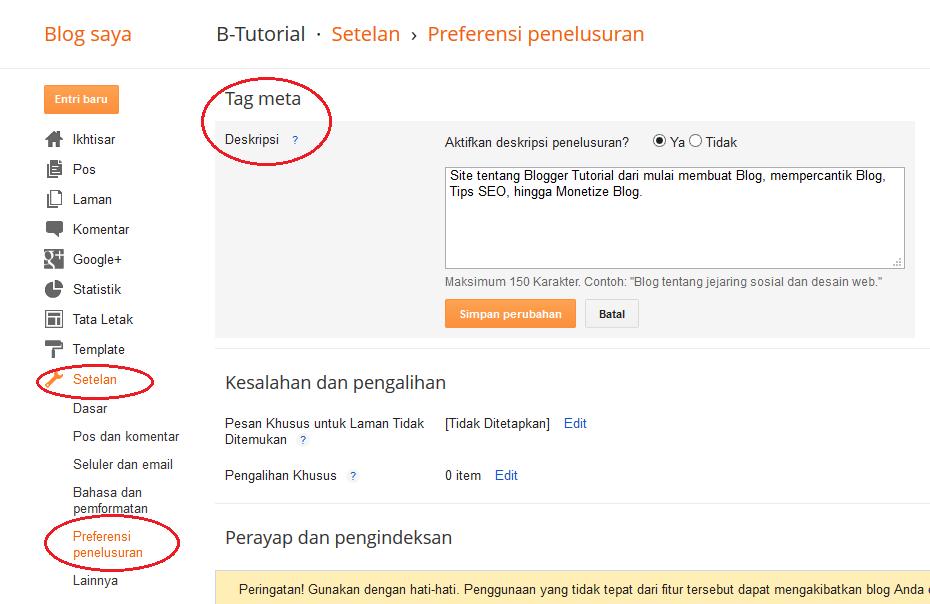 Mengaktifkan Tag Meta Deskripsi dan Memasang meta description untuk Blog