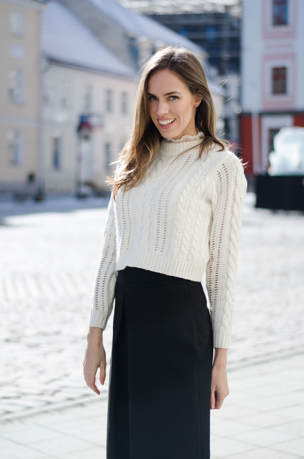 kristjaana mere white cropped sweater black trousers