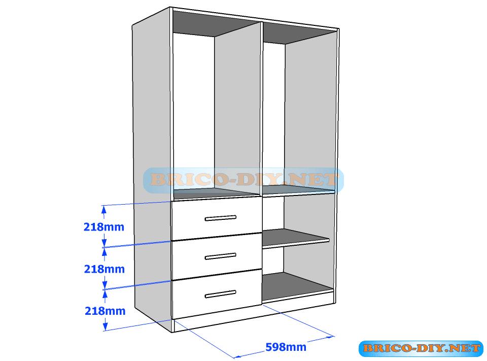 Plano de ropero guardarropa de melamina blanco con gavetas for Programa para hacer muebles de melamina gratis