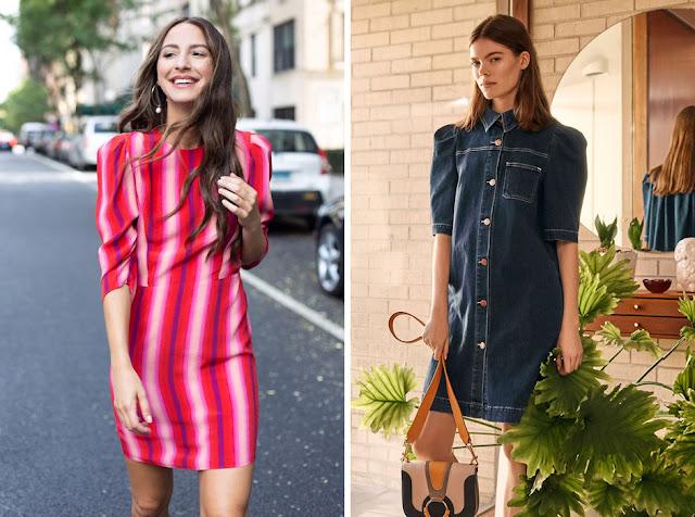 Прямые платья с пышными рукавами увеличивают в объеме