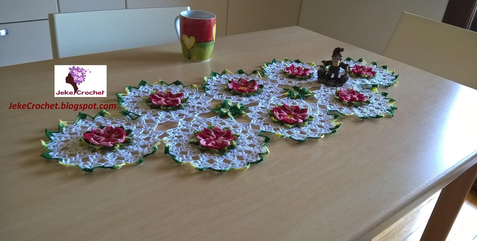 Jeke crochet camino de mesa primaveril a crochet o - Caminos para mesas ...