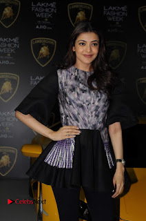 Actress Kajal Aggarwal Stills in Black Dress at Lakme Fashion Week Summer Resort 2017  0008.jpg