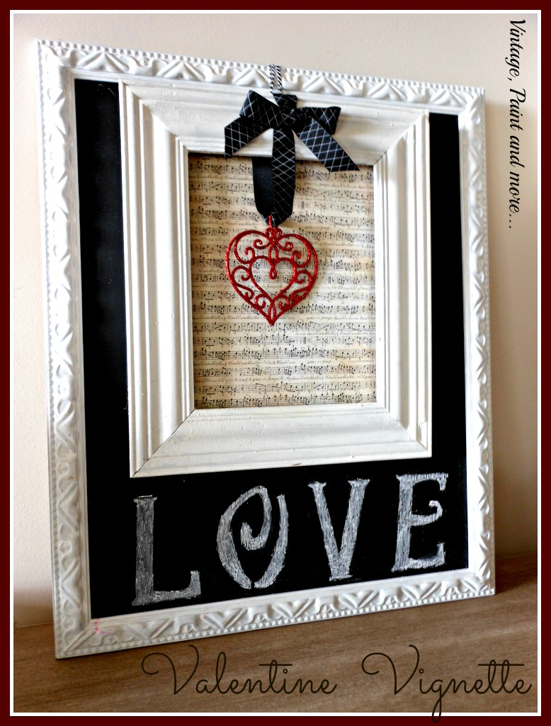 DIY chalkboard from an old picture, DIY Valentine art work from a frame and sheet music