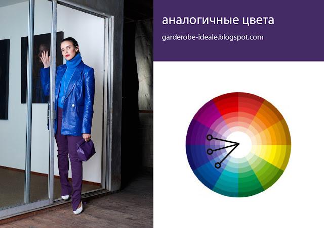 Сочетания аналогичных цветов в одежде, сочетание синего и фиолетового