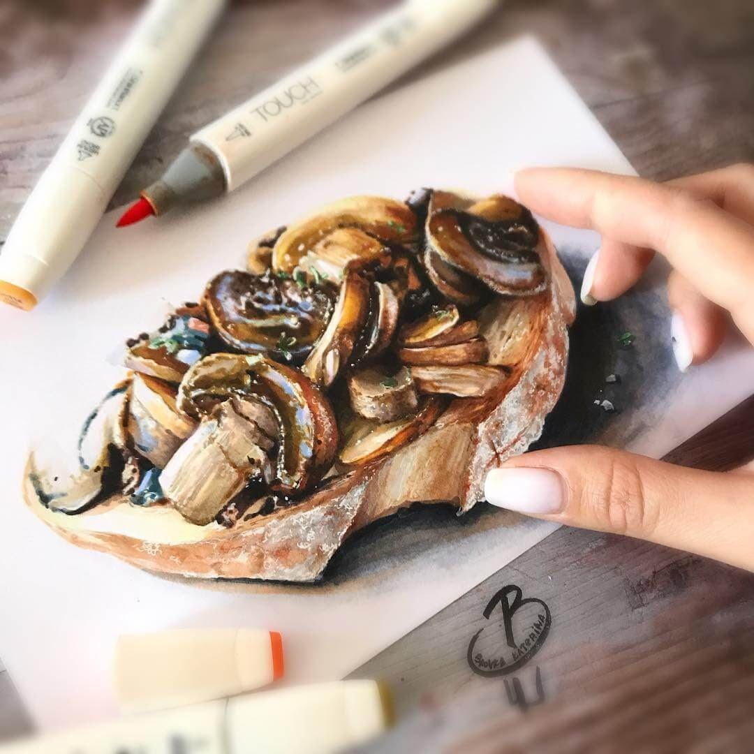 08-Mushrooms-on-Toast-Katerina-Brovka-Illustrations-of-Food-Art-Architecture-and-More-www-designstack-co
