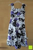 vorne: mixinni® Damen A-Linie Kurz Rockabilly Kleid 1950er Vintage Faltenrock Cocktail Partykleid Sommerkleid