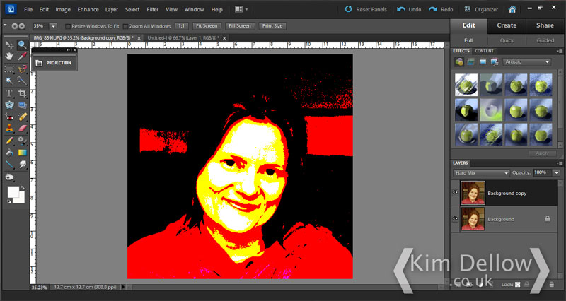 Changing the colours of a selfie in Photoshop Elements