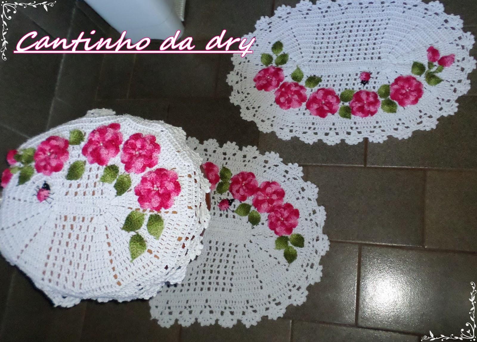Jogo De Banheiro Verde E Branco : Croches da dry jogo de banheiro c flores ejoaninhas