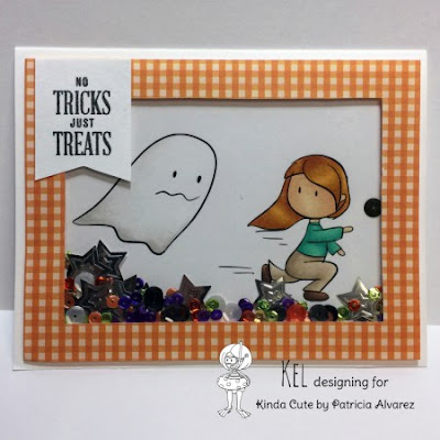 Halloween card using girl and ghost digital stamp