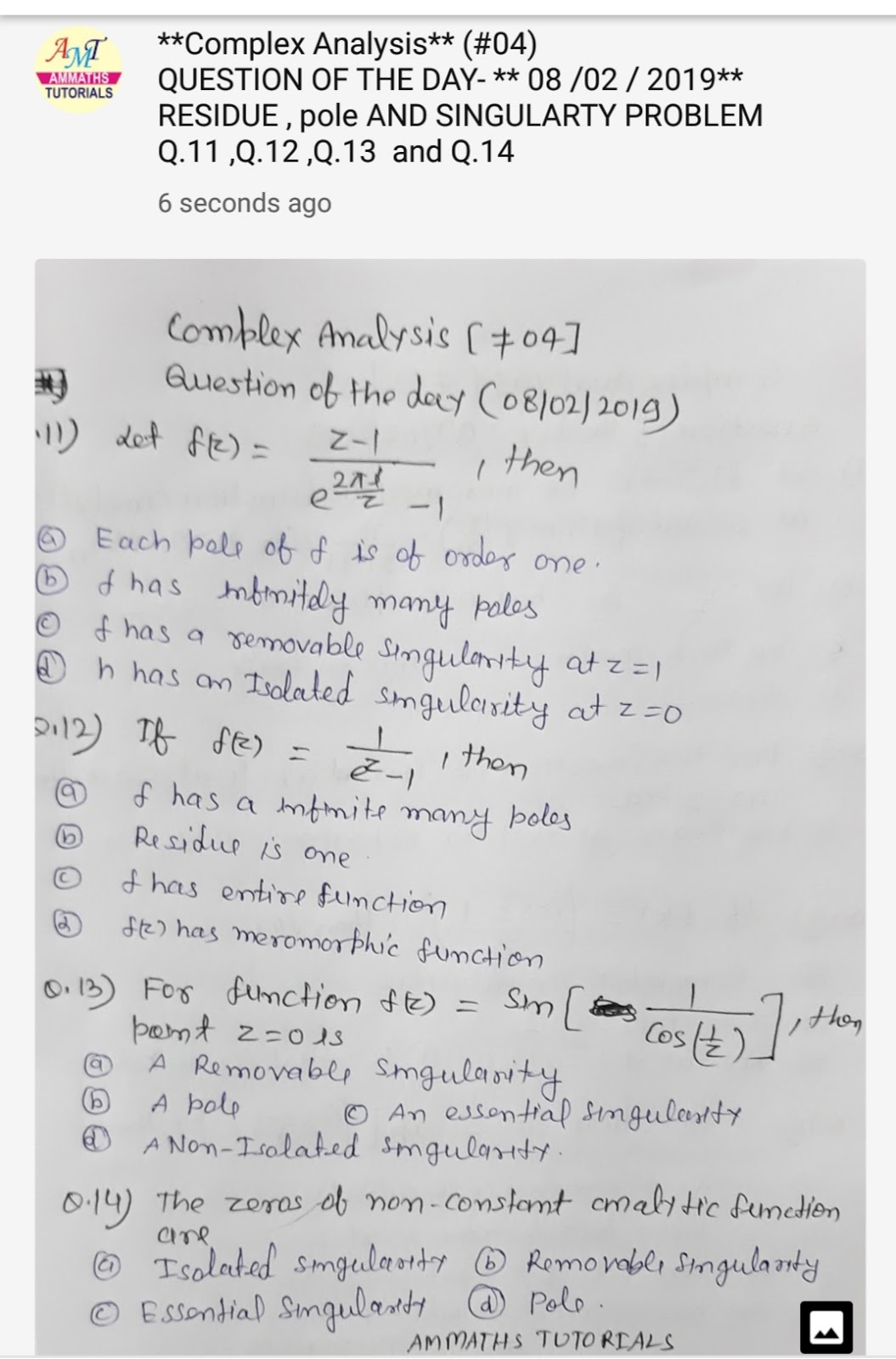 AMMATHS TUTORIALS : #04 Complex Analysis- QUESTION OF THE
