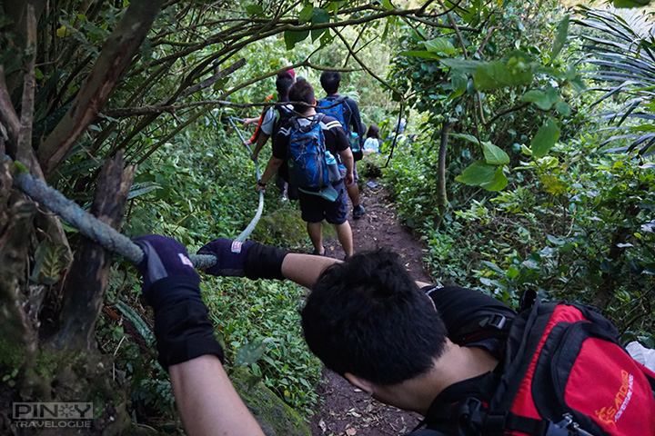 On the way to Maculot Rockies, trekking down through ropes