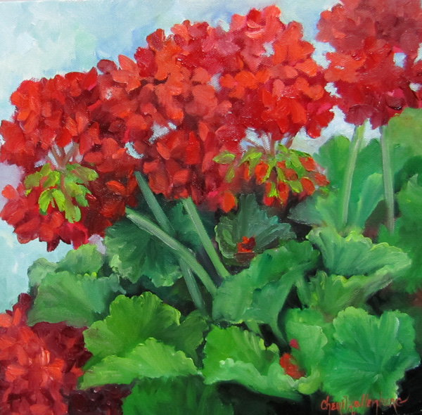 Red Geraniums Oil Painting