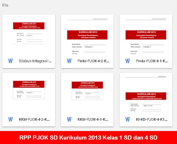 RPP PJOK SD Kurikulum 2013 Kelas 1 SD dan 4 SD