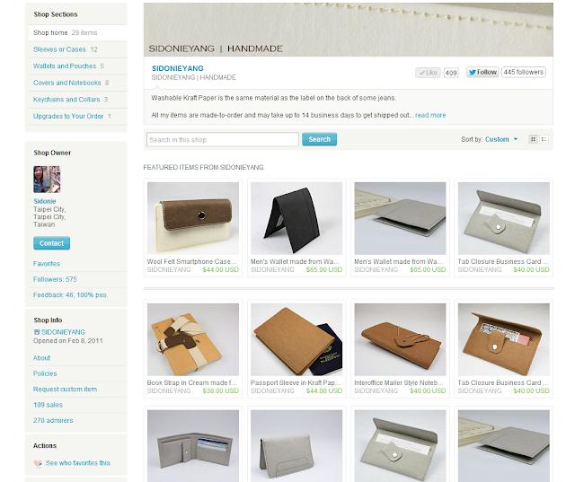 紙樣手創設計在Etsy 的網路商店截圖於 2012/09/25