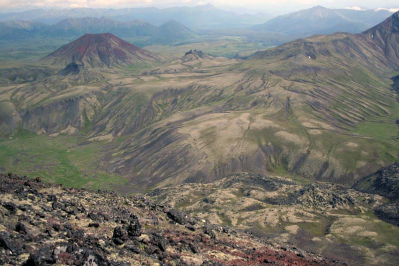 горные тундры вид с вулкана камчатка