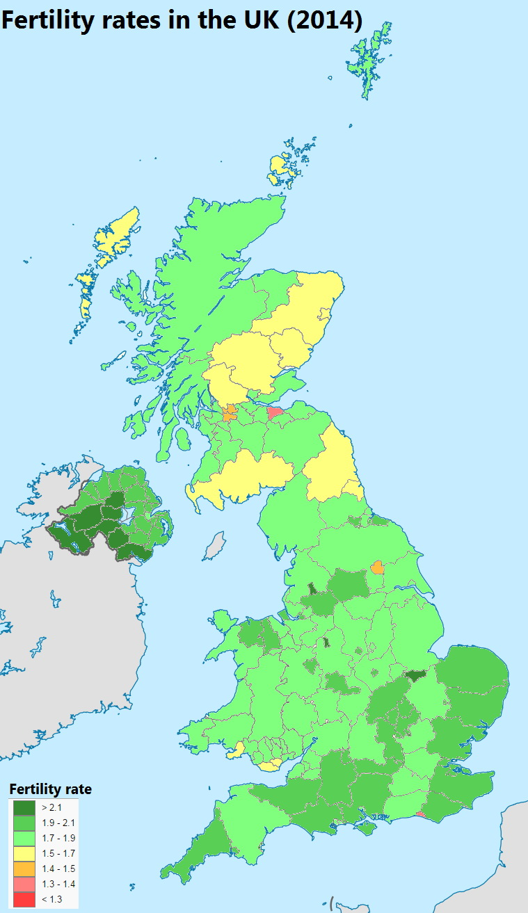 Fertility rates in the UK (2014)