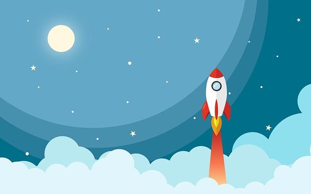 Space Rocket Night Cartoon Universe Star Moon