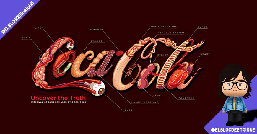 Representación del daño que hace Coca-Cola en nuestro organismo