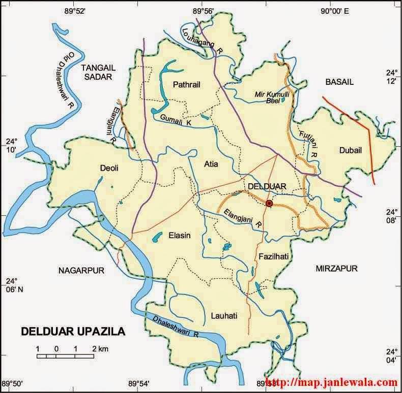 Delduar Upazila Map Tangail District Bangladesh - Tangail map