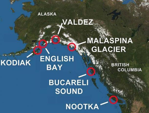 Áreas de Alaska y la Columbia Británica exploradas por los españoles.