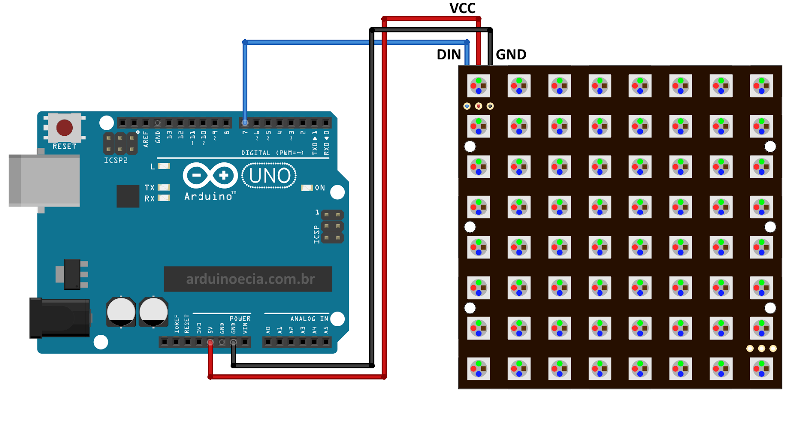 Circuito Arduino Painel de Led WS2812