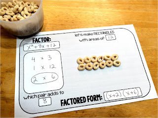 introduce quadratic factoring with a hands-on activity