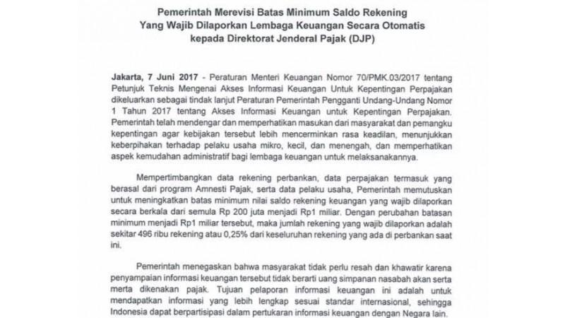 Revisi minimal batas saldo yang dilaporkan
