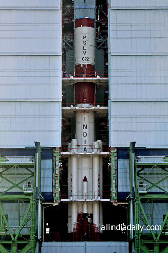 PSLV-C22 ASSEMBLED UPTO SECOND STAGE INSIDE MOBILE SERVICE TOWER
