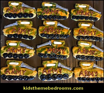 ARMY tank cookies  military cakes, decorations, military party foods and favors army party decorations - Camouflage Party Supplies - army party ideas - Military party ideas for a boy birthday party - Army & Camouflage decorations - army party decoration ideas - army themed party - army costumes - Army Camo Party Supplies -