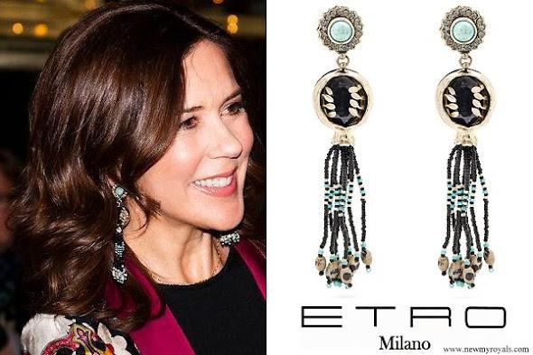 Princess Mary wore ETRO Bead embellished tassel drop earrings