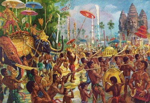 Le roi en route vers le temple