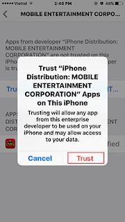 Nhấp chọn vào nút Trust