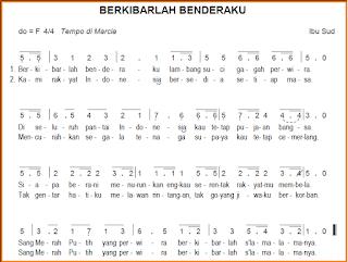 Teks dan Partitur Lagu Berkibarlah Benderaku